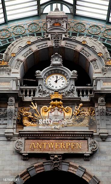 Antwerp Train Station Clock in Belgium