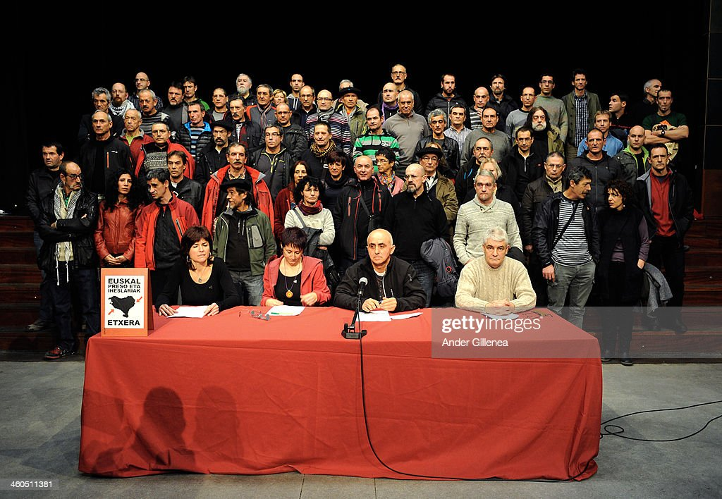 Antxon Lopez Estanis Etxaburu Arantxa Garballo and Ines Lopez give a press conference to represent the recently released 63 ETA prisoners to value...