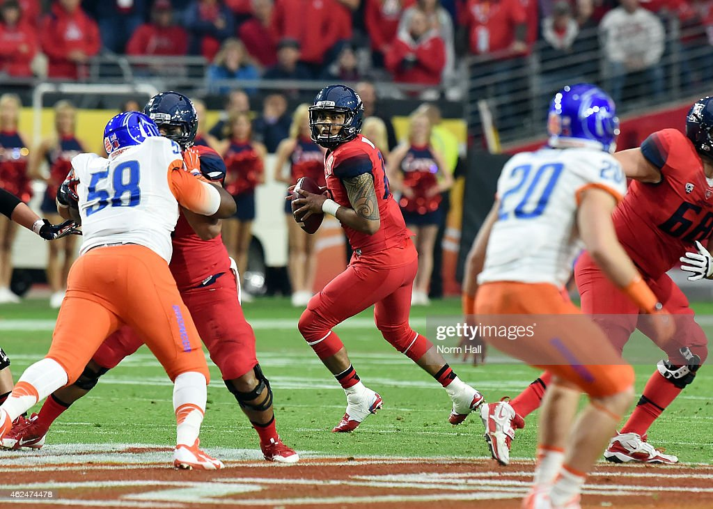 Anu Solomon #12 of the Arizona Wildcats looks to throw the ball against the Boise State Broncos at University of Phoenix Stadium on December 31, 2014 in Glendale, Arizona.