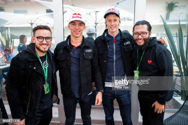 Anuar Layton of Mercadorama and Mexico with Pierre Gasly of Scuderia Toro Rosso and France Brendon Hartley of Scuderia Toro Rosso and New Zealand...