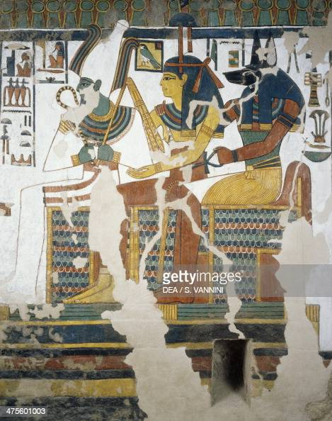 Anubis Osiris and Nefertari detail from the frescoes in the second chamber of the Tomb of Nefertari Valley of Queens Luxor Thebes Egyptian...