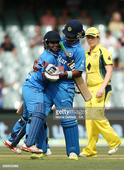 Anuja Patil and Shikha Pandey of India celebrate as after winning the women's Twenty20 International match between Australia and India at Adelaide...