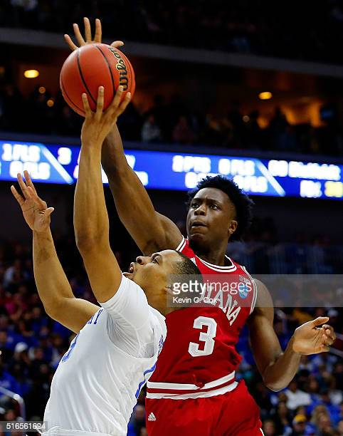 Anunoby of the Indiana Hoosiers defends against Isaiah Briscoe of the Kentucky Wildcats in the first half during the second round of the 2016 NCAA...