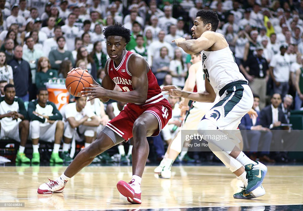 OG Anunoby #3 of the Indiana Hoosiers drives around against <a gi-track='captionPersonalityLinkClicked' href=/galleries/search?phrase=Kenny+Goins&family=editorial&specificpeople=14308517 ng-click='$event.stopPropagation()'>Kenny Goins</a> #25 of the Michigan State Spartans in the first half at the Breslin Center on February 14, 2016 in East Lansing, Michigan.