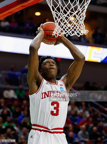 Anunoby of the Indiana Hoosiers dunks against the Chattanooga Mocs during the first round of the 2016 NCAA Men's Basketball Tournament at Wells Fargo...