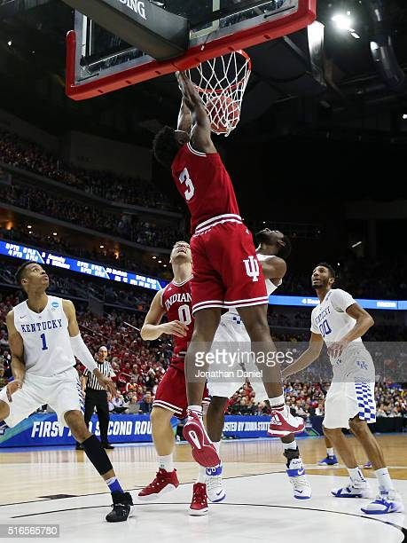 Anunoby of the Indiana Hoosiers dunks against the Kentucky Wildcats in the first half during the second round of the 2016 NCAA Men's Basketball...