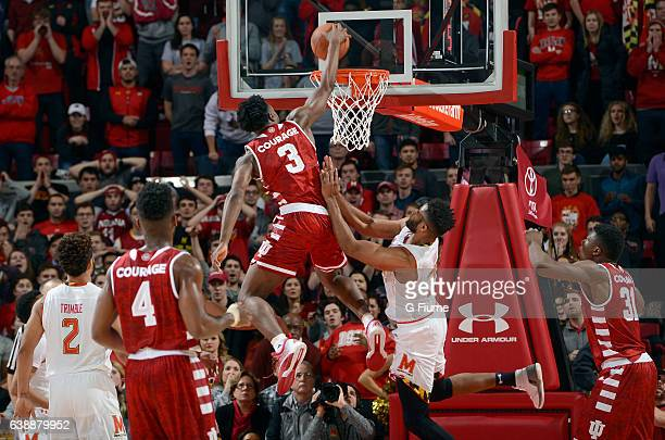 Anunoby of the Indiana Hoosiers dunks the ball against the Maryland Terrapins at Xfinity Center on January 10 2017 in College Park Maryland