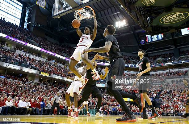 Anunoby of the Indiana Hoosiers dunks the ball during the game against the Louisville Cardinals in the Countdown Classic at Bankers Life Fieldhouse...