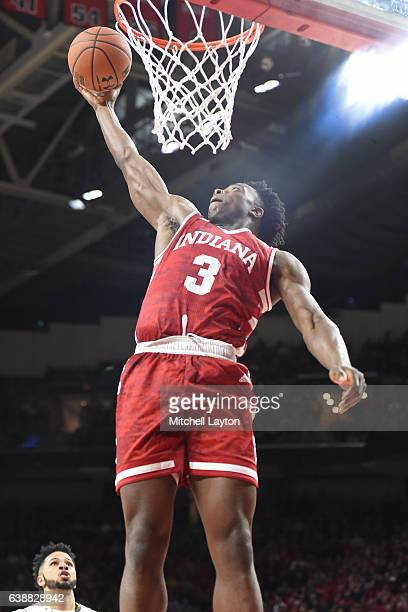 Anunoby of the Indiana Hoosiers goes for a dunk during a college basketball game against the Maryland Terrapins at the XFinity Center Center on...