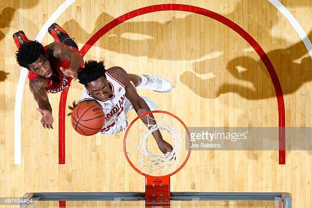 Anunoby of the Indiana Hoosiers goes to the basket against Kenny Jones of the Austin Peay Governors in the second half of a game at Assembly Hall on...