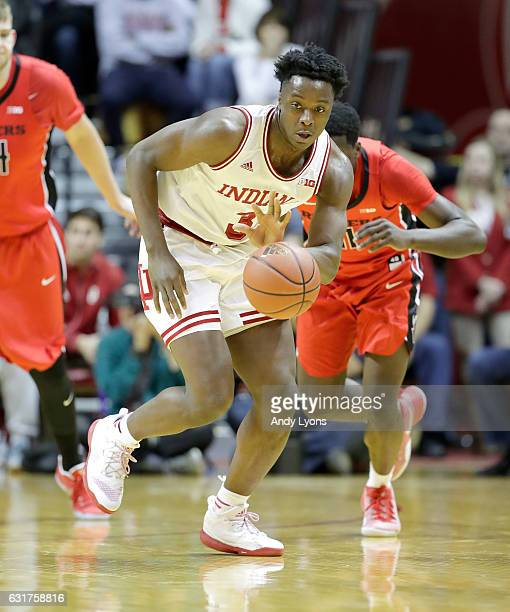 Anunoby of the Indiana Hoosiers grabs a loose ball during the game against the Rutgers Scarlet Knights at Assembly Hall on January 15 2017 in...