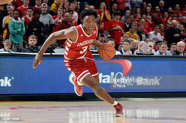 Anunoby of the Indiana Hoosiers handles the ball against the Maryland Terrapins at Xfinity Center on January 10 2017 in College Park Maryland