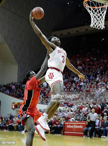 Anunoby of the Indiana Hoosiers shoots the ball during the game against the Rutgers Scarlet Knights at Assembly Hall on January 15 2017 in...