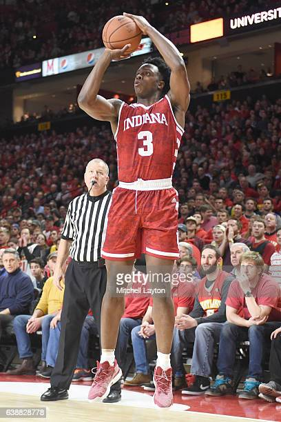 Anunoby of the Indiana Hoosiers takes a jump shot during a college basketball game against the Maryland Terrapins at the XFinity Center Center on...
