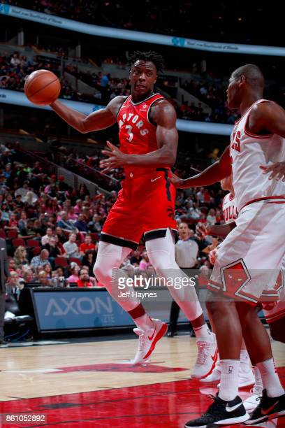 Anunoby of the Toronto Raptors handles the ball against the Chicago Bulls on October 13 2017 at the United Center in Chicago Illinois NOTE TO USER...