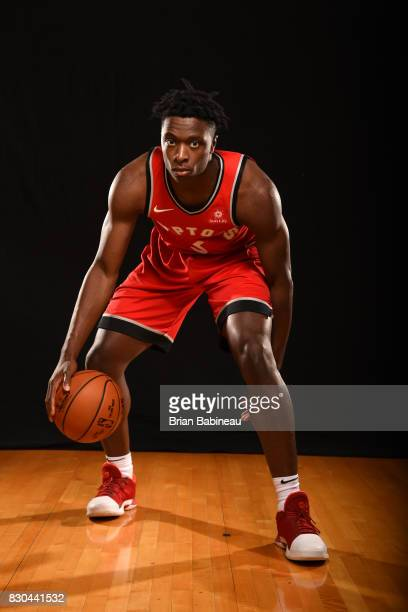 Anunoby of the Toronto Raptors poses for a photo during the 2017 NBA Rookie Photo Shoot at MSG training center on August 11 2017 in Tarrytown New...