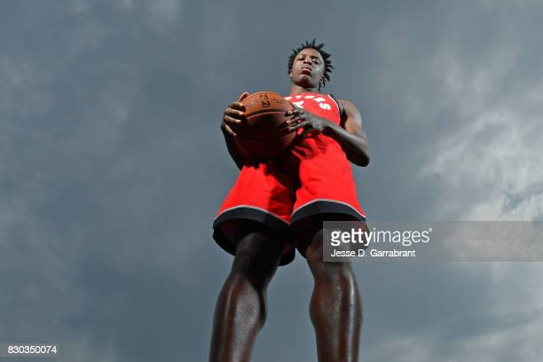 Anunoby of the Toronto Raptors poses for a portrait during the 2017 NBA rookie photo shoot on August 11 2017 at the Madison Square Garden Training...
