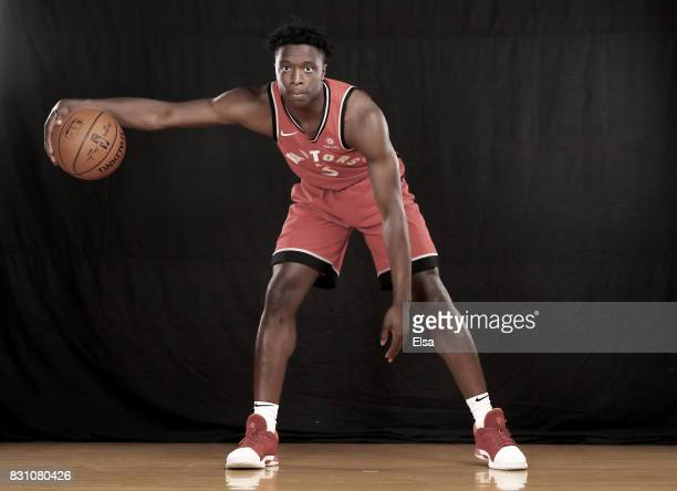 OG Anunoby of the Toronto Raptors poses for a portrait during the 2017 NBA Rookie Photo Shoot at MSG Training Center on August 11 2017 in Greenburgh...
