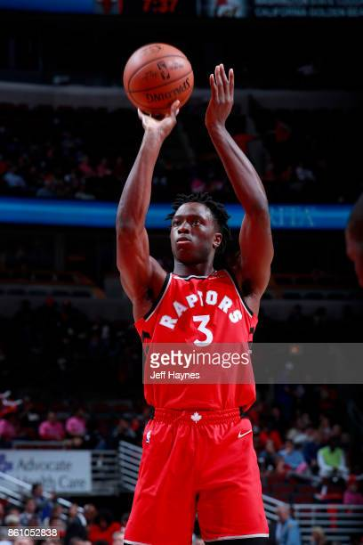 Anunoby of the Toronto Raptors shoots a free throw against the Chicago Bulls on October 13 2017 at the United Center in Chicago Illinois NOTE TO USER...