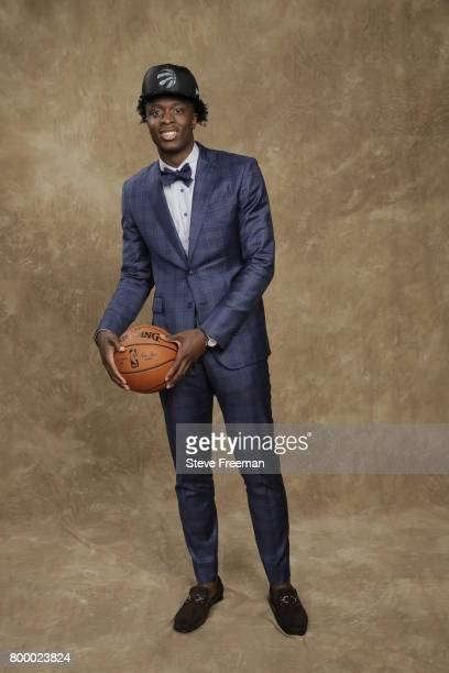 Anunoby poses for a portrait after being selected twentythree overall by the Toronto Raptors during the 2017 NBA Draft on June 22 2017 at Barclays...