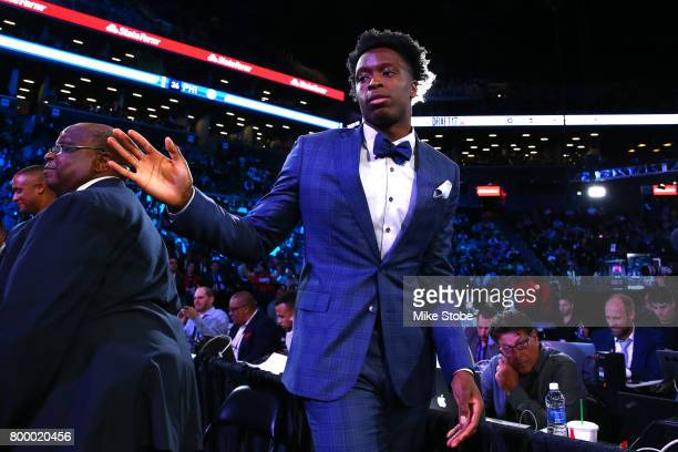 Anunoby reacts after being drafted 23rd overall by the Toronto Raptors during the first round of the 2017 NBA Draft at Barclays Center on June 22...