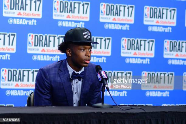 Anunoby speaks with the media after being selected 23rd overall by the Toronto Raptors at the 2017 NBA Draft on June 22 2017 at Barclays Center in...