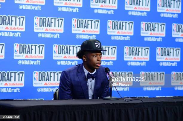 Anunoby talks to the media after being selected 23rd overall at the 2017 NBA Draft on June 22 2017 at Barclays Center in Brooklyn New York NOTE TO...