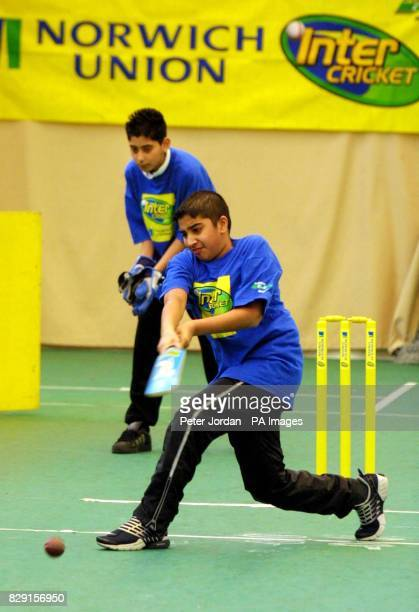 Anup Jhooti age 12 from Cranford Community College batting during the Middlesex County Final of the Norwich Union Inter Cricket Indoor Tournament at...