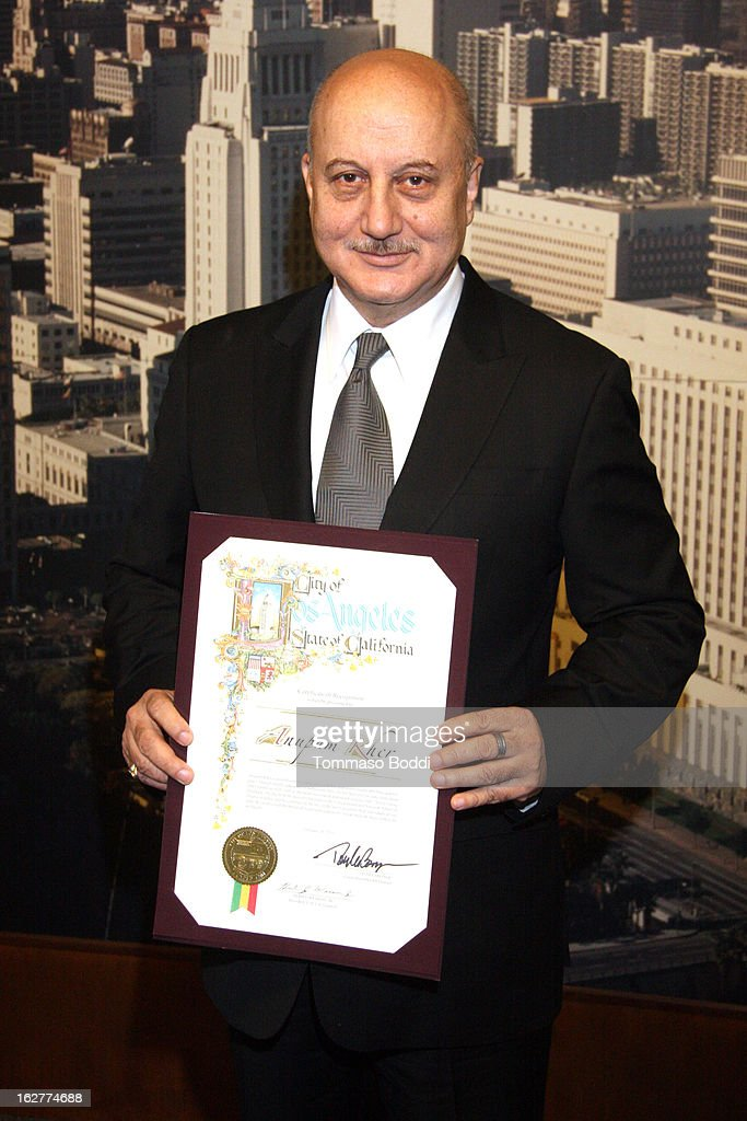 Anupam Kher Receives the Los Angeles City Proclamation at Los Angeles City Hall on February 26 2013 in Los Angeles California