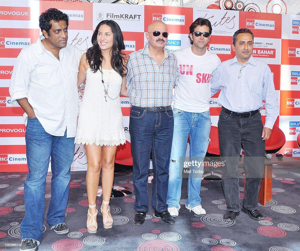 Anurag Basu, Barbara Mori, Rakesh Roshan and Hrithik Roshan at a promotional event for the film Kites in Mumbai on May 22, 2010.