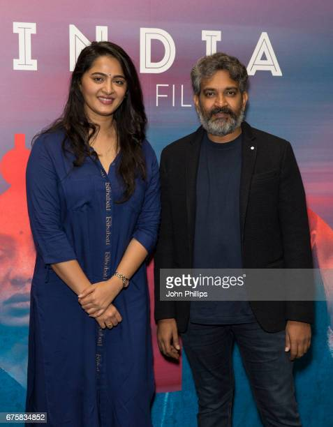 Anushka Shetty and SS Rajamouli attend a photocall for the upcoming release of Baahubali 2 at BFI Southbank on May 2 2017 in London England