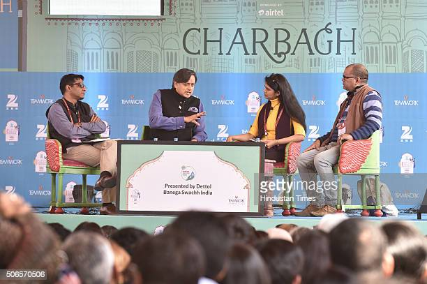Anustup Nayak Congress MP Shashi Tharoor Sanchaita Gajapati Raju and story writer novelist Desraj Kali during the session 'Swachh Bharat The India...