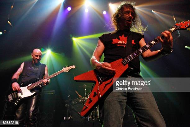 Anvil's Glenn Five and Steve 'Lips' Kudlow perform at the premiere of 'Anvil The Story of Anvil' at The Blender Theatre on April 6 2009 in New York...