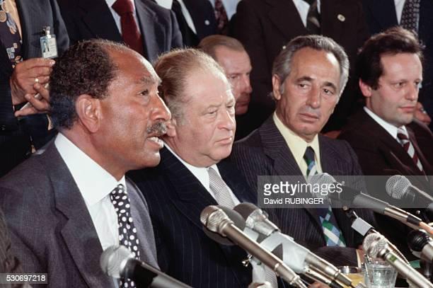 Anwar al Sadat Bruno Kreisky and Shimon Peres at peace talks in Vienna July 1978