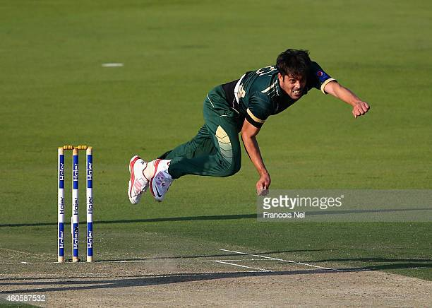 Anwar Ali of Pakistan bowls during the 4th One Day International match between Pakistan and New Zealand at Sheikh Zayed Stadium on December 17 2014...