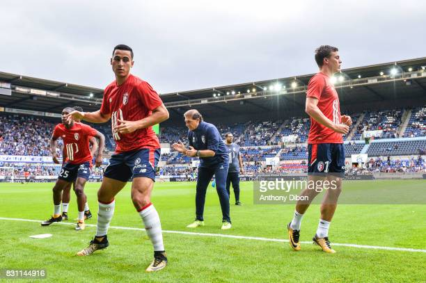 Anwar El Ghazi and Nicolas De PReville of Lille during the Ligue 1 match between Racing Club Strasbourg and Lille OSC at Stade de la Meinau on August...
