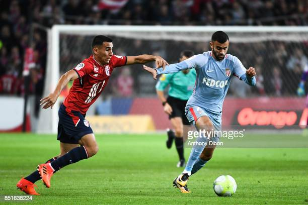 Anwar El Ghazi Lille and Rachid Ghezzal of Monaco during the Ligue 1 match between Lille OSC and AS Monaco at Stade Pierre Mauroy on September 22...