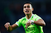 Anwar El Ghazi of Ajax celebrates scoring his teams second goal of the game during the Eredivisie match between PSV Eindhoven and Ajax Amsterdam held...