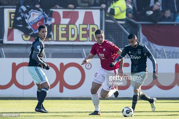 Anwar el Ghazi of Ajax Robin van de Meer of FC Utrecht Hakim Ziyech of Ajaxduring the Dutch Eredivisie match between FC Utrecht and Ajax Amsterdam at...