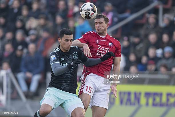 Anwar el Ghazi of Ajax Robin van de Meer of FC Utrechtduring the Dutch Eredivisie match between FC Utrecht and Ajax Amsterdam at the Galgenwaard...