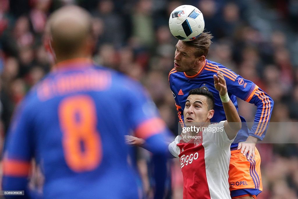 Anwar El Ghazi of Ajax, Sven van Beek of Feyenoord during the Dutch Eredivisie match between Ajax Amsterdam and Feyenoord Rotterdam at the Amsterdam Arena on February 07, 2016 in Amsterdam, The Netherlands
