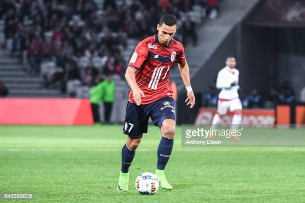 Anwar El Ghazi of Lille during the French Ligue 1 match between Lille and Bordeaux at Stade PierreMauroy on February 25 2017 in Lille France