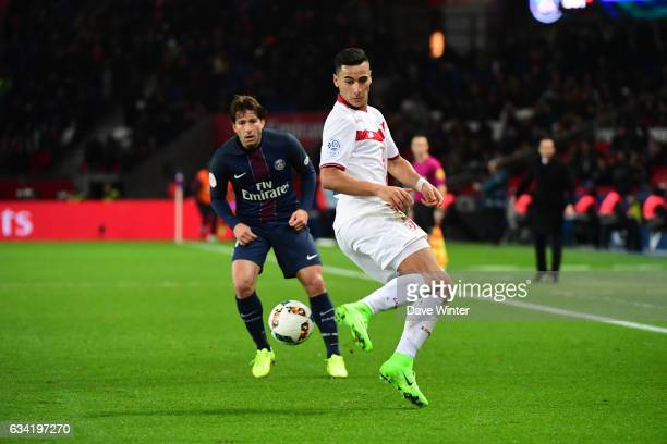 Anwar El Ghazi of Lille during the French Ligue 1 match between Paris Saint Germain and Lille at Parc des Princes on February 7 2017 in Paris France
