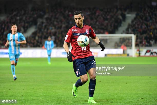 Anwar El Ghazi of Lille during the Ligue 1 match between Lille OSC and Olympique de Marseille at Stade Pierre Mauroy on March 17 2017 in Lille France