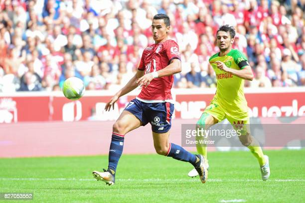 Anwar El Ghazi of Lille during the Ligue 1 match between Lille OSC and Nantes at Stade Pierre Mauroy on August 6 2017 in Lille