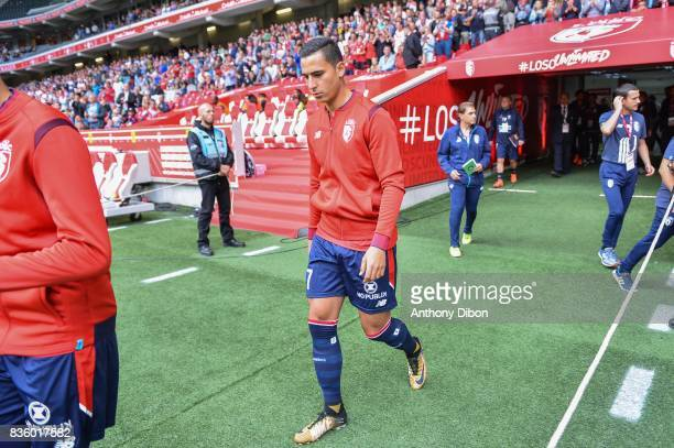 Anwar El Ghazi of Lille during the Ligue 1 match between Lille OSC and SM Caen at Stade Pierre Mauroy on August 20 2017 in Lille