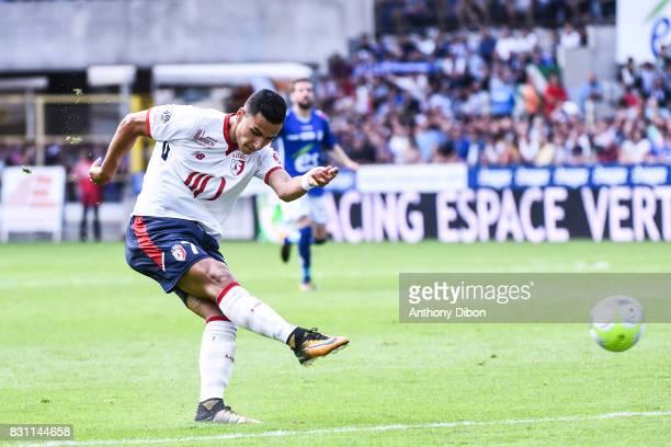 Anwar El Ghazi of Lille during the Ligue 1 match between Racing Club Strasbourg and Lille OSC at Stade de la Meinau on August 13 2017 in Strasbourg