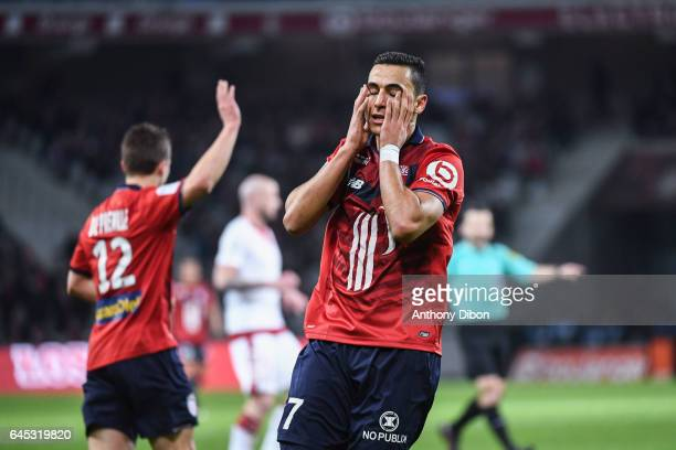 Anwar El Ghazi of Lille looks dejected during the French Ligue 1 match between Lille and Bordeaux at Stade PierreMauroy on February 25 2017 in Lille...