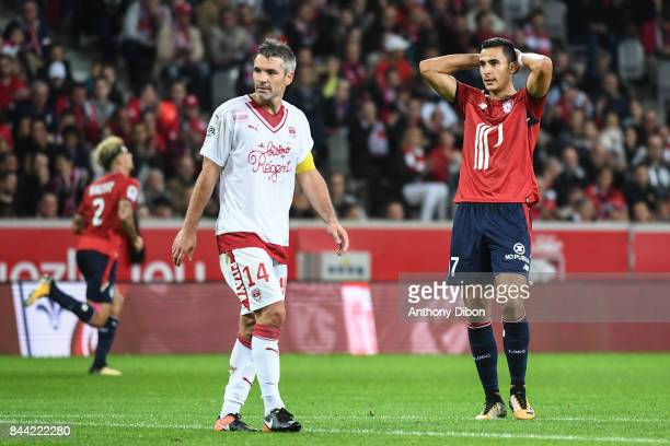 Anwar EL Ghazi of Lille looks dejected during the Ligue 1 match between Lille OSC and FC Girondins de Bordeaux at Stade Pierre Mauroy on September 8...
