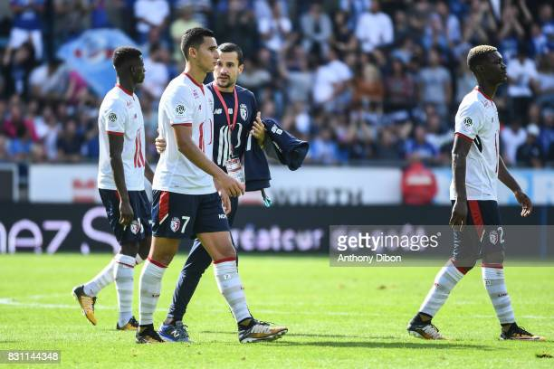 Anwar El Ghazi of Lille looks dejected during the Ligue 1 match between Racing Club Strasbourg and Lille OSC at Stade de la Meinau on August 13 2017...
